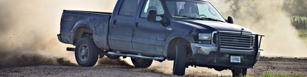 Ford F250 pickup with all terrain tires
